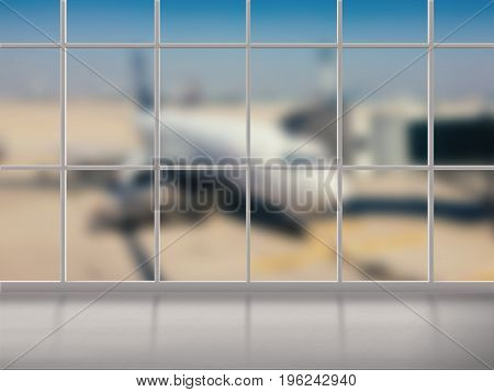 airport terminal with transparent glass and airplane blurred background