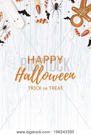 Festive flyer with treats for halloween. Top view on spiders, paper bats and confetti on wooden texture. Vector illustration with cookies in form of skeleton gingerbread man and serpentine.