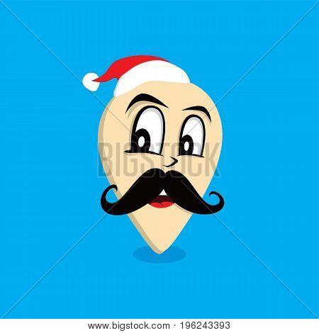 mustache santa claus map pin locator - location marker vector art
