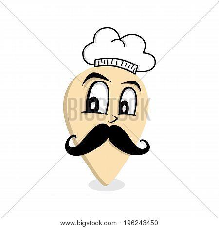 chef mustache gentleman map pin locator - location marker vector art