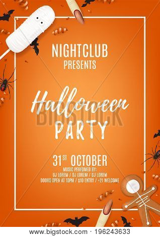 Orange halloween party poster with treats. Top view on spiders, paper bats and confetti. Vector illustration with cookies. Invitation to nightclub with serpentine.