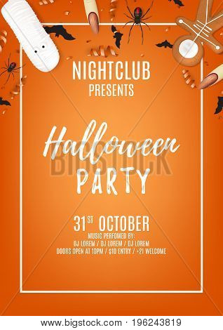 Beautiful orange halloween party poster with treats. Top view on spiders, paper bats and confetti. Vector illustration with cookies. Invitation to nightclub with serpentine.