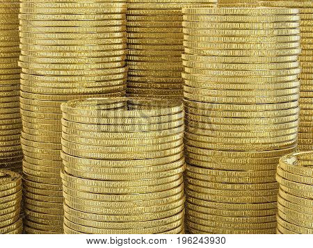 3d rendering stack of gold coins background