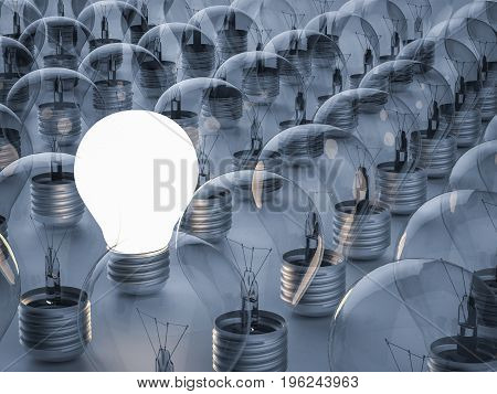 differential concept with 3d rendering shining light bulb