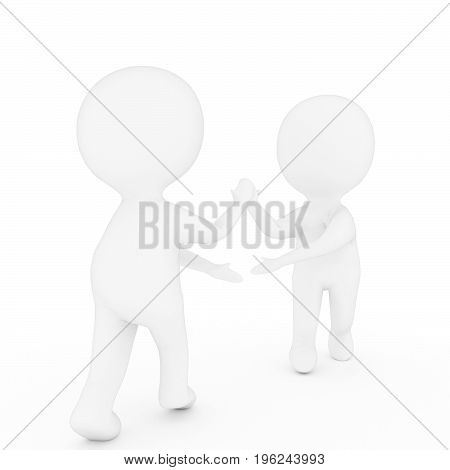small two people who shake hands on isolated white background in 3D rendering