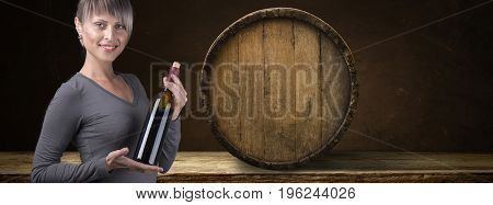 Old wooden barrel on a brown background.