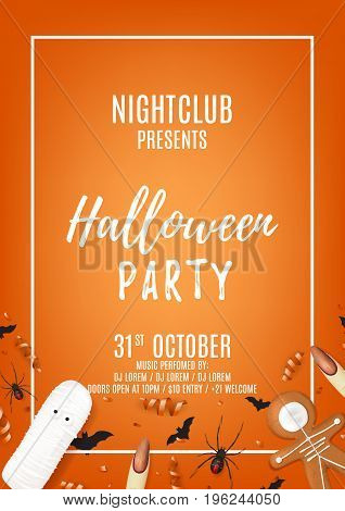 Orange halloween party flyer with sweets. Top view on spiders, paper bats and confetti. Vector illustration with cookies. Invitation to nightclub with serpentine.