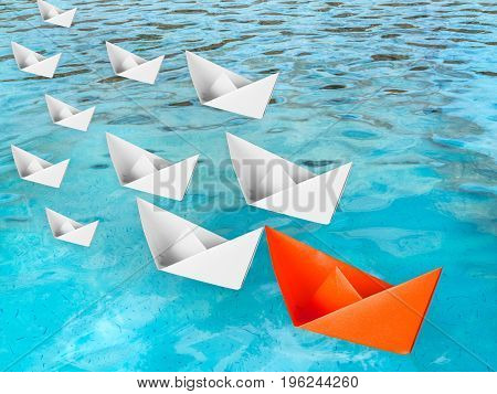 leadership concept with paper boat floating on pool illustration