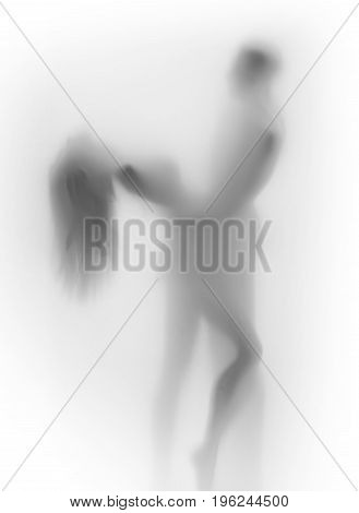 Beautiful body silhouettes, lover couple together, dance