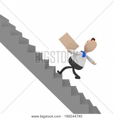 Businessman running fast upstairs with an envelope in his hand 3d rendering