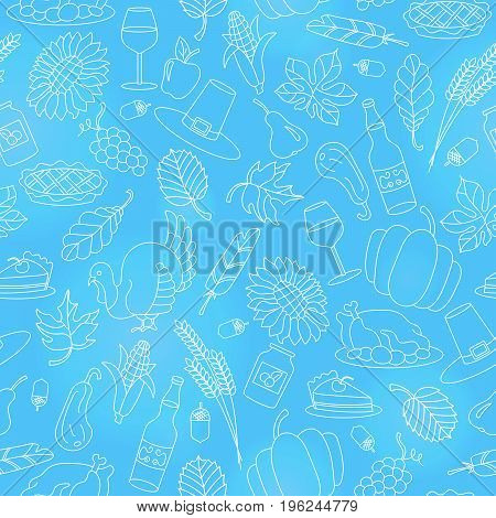Seamless pattern for holiday Thanksgiving daylight contour icons on blue background