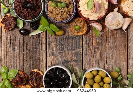 assortment of olive tapenade