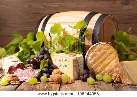 wine barrel and cheese