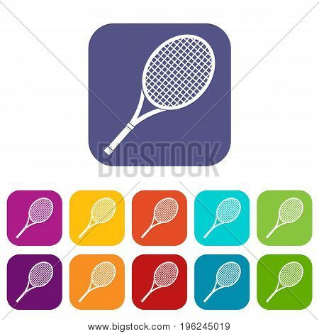 Tennis racket icons set vector illustration in flat style in colors red, blue, green, and other