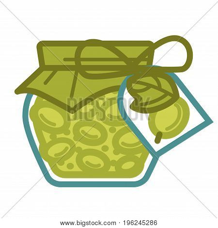 Jar of canned olives with pepper cover attached with bow of rope and pepper tag with plant image isolated cartoon vector illustration on white background. Delicious food with long expiration date.