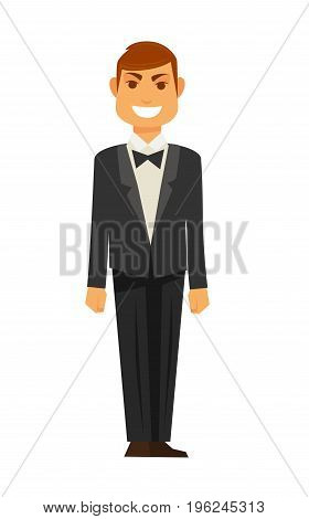 Elegant man in black tuxedo with bowtie and heat hairstyle stand and smiles isolated vector illustration on white background. Festively dressed male cartoon character with happy facial expression.