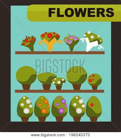 Flowers shop with green indoor plants with or without blossom and small charming bouquets on long wooden shelves inside turquoise shop window vector illustration. Natural decoration for home store.