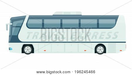 Spacious travel express bus with comfortable seats and air conditioning inside for long distance trips isolated vector illustration on white background. Fast, cheap and nice way to have journey.