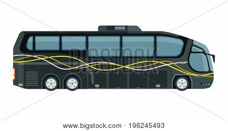 Contemporary tourist bus in grey color isolated on white. Vector colorful illustration in graphic design of big mean of transportation on wheels for tourist. Public type of transport in flat style