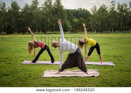A group of yogis in a graceful pose during outdoor pursuits, summer