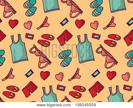 Underwear clothes love object seamless pattern. Color vector illustration. EPS8