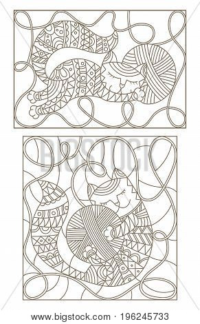 Set contour illustrations of stained glass with cute cats hugging skeins of thread