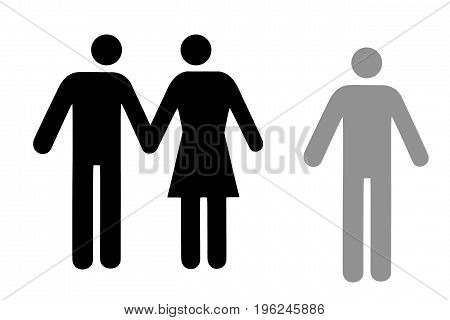 Couple and single icon flat black pictogram isolated on white. Conceptual representation of refusal abandonment betrayal choice of a partner.