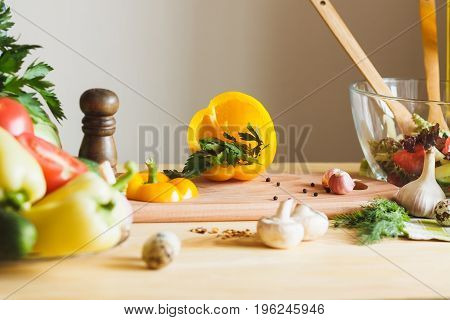 Different products at the kitchen soft focus background