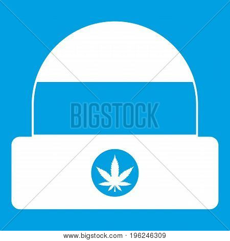 Hat with sign cannabis icon white isolated on blue background vector illustration