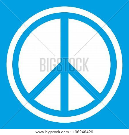 Sign hippie peace icon white isolated on blue background vector illustration