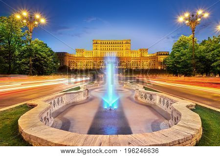 Bucharest Romania City Center with Palace of Parliament Architecture at Sunset