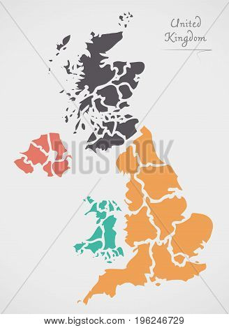 United Kingdom Map With States And Modern Round Shapes