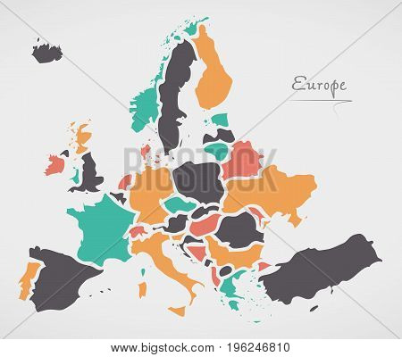 Europe Mainland Map With States And Modern Round Shapes