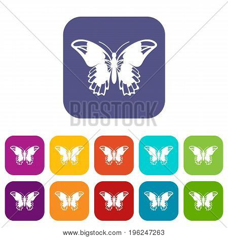 Admiral butterfly icons set vector illustration in flat style in colors red, blue, green, and other
