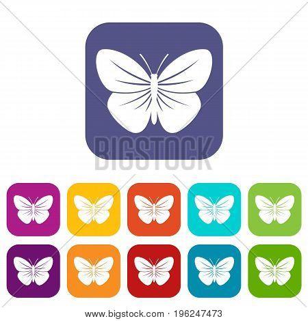 Black butterfly icons set vector illustration in flat style in colors red, blue, green, and other