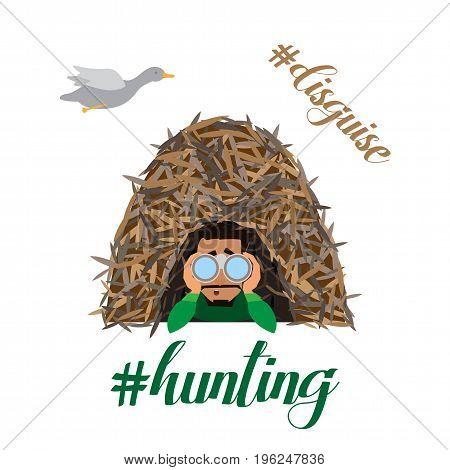 Hunter man character hunt ducks. Vector flat cartoon illustration