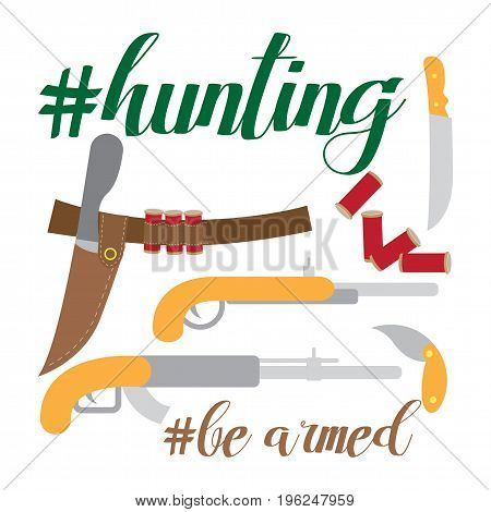 Flat vector illustration isolated on white, theme hunting