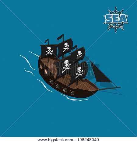 Pirate sailer on a blue background. Sailboat in isometric style. 3d illustration of ancient ship. Corsair game. Vector illustration