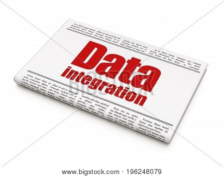 Information concept: newspaper headline Data Integration on White background, 3D rendering