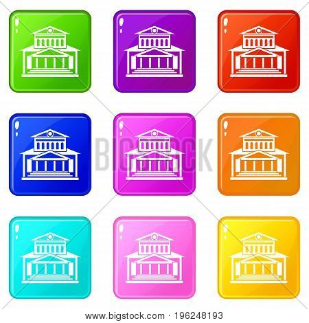 Theater building icons of 9 color set isolated vector illustration