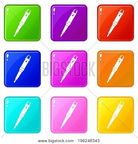 Grip of tattoo machine icons of 9 color set isolated vector illustration