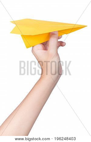 hand holding paper plane isolated on white