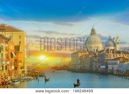 Amazing sunrise over the Grand Canal in Venice, Italy