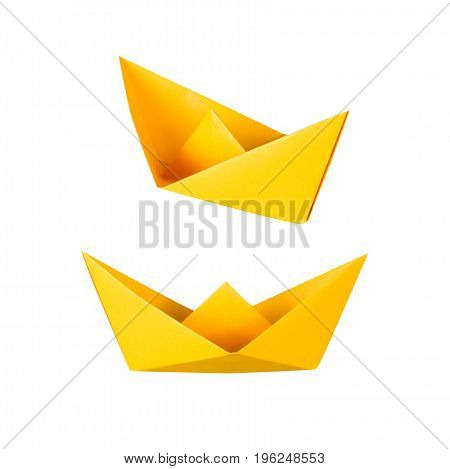 origami boat or paper boat isolated on white
