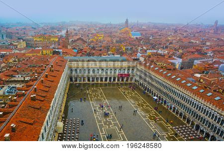 Aerial view over San Marco square in Venice, Italy