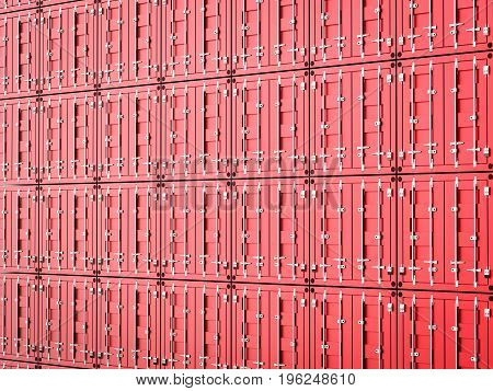 3d rendering heap of red container background