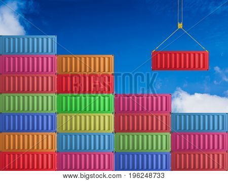 3d rendering red container hanging with colorful containers