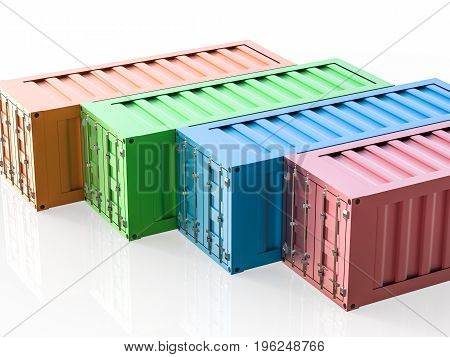3d rendering colorful containers on white background