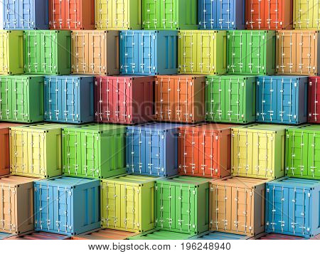 3d rendering heap of colorful containers background