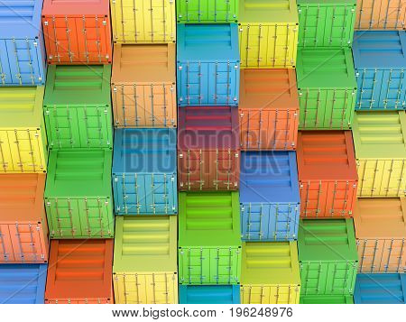 3d rendering heap of colorful containers view from above